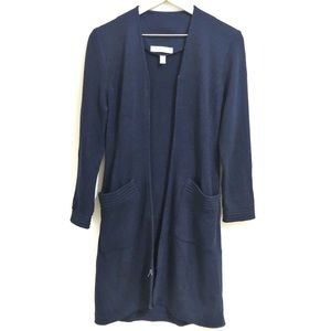 St. John Navy Zip Up Long Duster Knit Cardigan